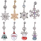 Women Christmas Snowflake Rhinestone Belly Bar Button Navel Ring Body Piercing