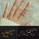 6pcs / Set Urban Rings Crystal Above Knuckle stacking Band Midi Mid Ring Gift