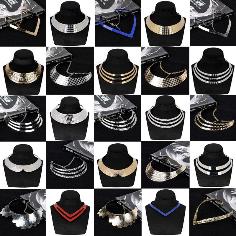 Fashion Lady Metal Chunky Statement Bib Chain Choker Pendant Necklace Jewelry