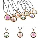 Real Dried Flower Resin Round Glass Floating Locket Pendant Necklace