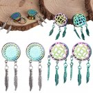 PAIR - STAINLESS STEEL DREAM CATCHER FEATHERS DANGLE TUNNELS EAR PLUGS 8mm-25mm