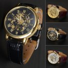 Classic Men's Leather Skeleton Dial Mechanical Army Sport Analog Wrist Watch