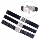 Black Silicone Rubber Watch Strap Band Deployment Buckle Waterproof 20-24mm