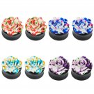 PAIR (2) Acrylic Budding Rose Flower EAR PLUGS Single Flare PIERCING GAUGES