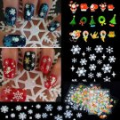 New Fashion 12 Sheets Snowflake 3D Nail Art Stickers Decal Decoration Xmas Gift