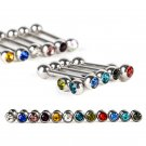 12pcs Surgical Stainless Steel Crystal Tongue Nipple Bar Ring Barbell Piercing