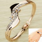 Fashion Jewelry Gold Plated Antisymmetric Crystal Bracelet Bangle Gift Women