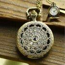 Antique Charm Silver Hollow Quartz Pocket Watch Pendant Necklace Chain Xmas Gift