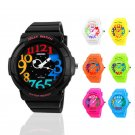 Fashion Women Girl Digital&Analog Silicone Jelly Waterproof Sport Wrist Watch