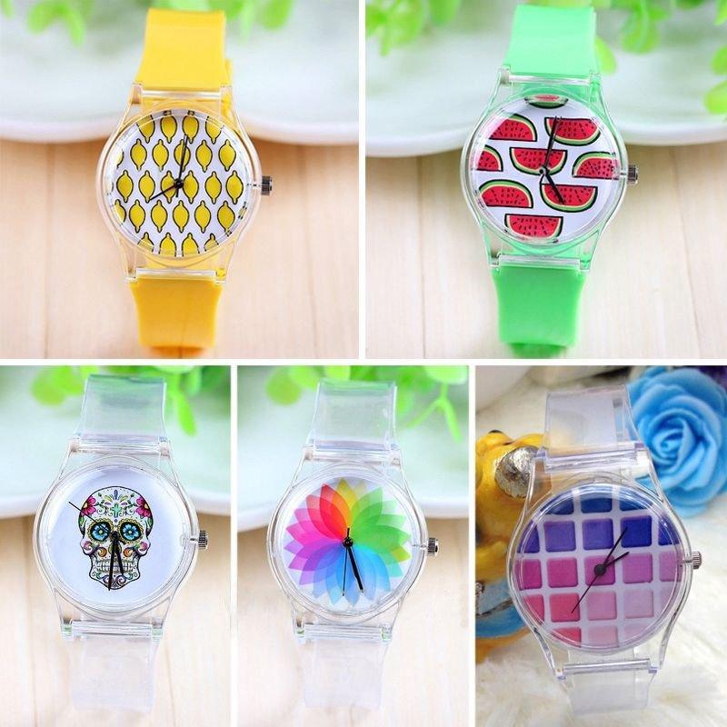 Fashion Women Cute Transparent Plastic Gel Analog Sports Jelly Wrist Watch