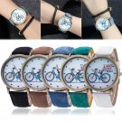 Women's Chic Fashionable Bike Bronze Jean Fabric Band Quartz Analog Wrist Watch