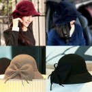 Women Lady Floppy Solid Color Cloche Bowler Fedora Hat Wool Felt Bow Bowknot Cap