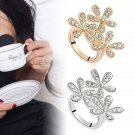 1Pc Fashion Womens Girl Silver Gold Flower Snowflake Rhinestone Ring Accessory