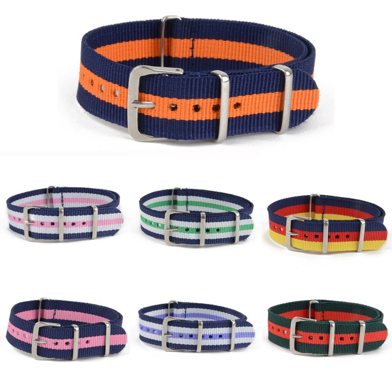 New Fashion Colorful Unisex 18/20/22mm Nylon Band  Alloy Buckle Watch Strap