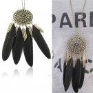 Vintage Bronze Plated Black Feather Leaf Tassel Pendant Long Chain Necklace