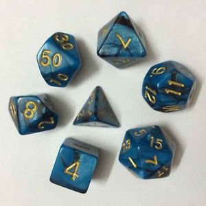 7pcs/Set TRPG Games Dungeons & Dragons D4-D20 Multi-sided Dices Colorful BLUE