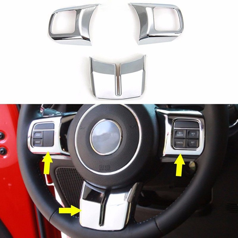 1set Steering Wheel Trim Cover For Jeep Grand Cherokee Wrangler Patriot Compass