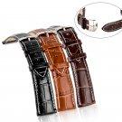 Leather Strap Steel Buckle Men Sport Wrist Watch Band Belt 18/20/22/24mm