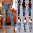 Womens Destroyed Ripped Distressed Slim Denim Pants Elastic Jeans Trousers New