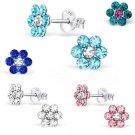 Women Fashion Jewelry 1Pair Elegant Crystal Rhinestone Flower Ear Stud Earrings