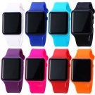 Men Women Simple Square Dial Digital LED Rubber Wrist Watch