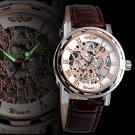 Luxury Men's Gold Skeleton Leather Band Analog Wrist Mechanical Automatic Watch