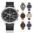 CURREN Men Fashion Military Leather Band Analog Date Sport Quartz Wrist Watches