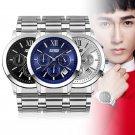 Sub-dials Chrono Watch Mens Chronograph Date Quartz Sport Steel Wrist Watch