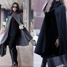 Chic Women Sleeveless Loose Cape Coat Poncho Hooded Cardigan Cloaks Long Shawl