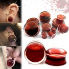 Pair Blood Red Liquid Filled Ear Plugs Flesh Tunnels Gauges Double Flared Saddle
