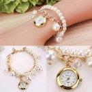 Fashion Women Faux Pearl Chain Bracelet Round Dial Analog Wrist Watch Gift
