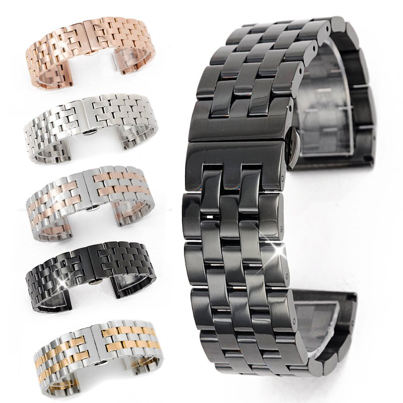 Solid Stainless Steel Links Watch Band Strap Bracelet Curved End 20 22 24 26 mm