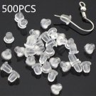 500PCS 4MM Jewelry Findings Silicone Earring Back Plugs Stoppers Ear Post Nuts