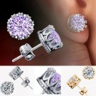 Charm Women Elegant Silver Plated Crystal Rhinestone Crown Ear Stud Earrings