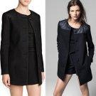 Women PU Faux Leather Woolen Coat Winter Parkas Jacket Single-Breasted Outwear
