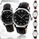 SKMEI Women&Man Leather Strap Stainless Steel Analog Date Quartz Wrist Watches