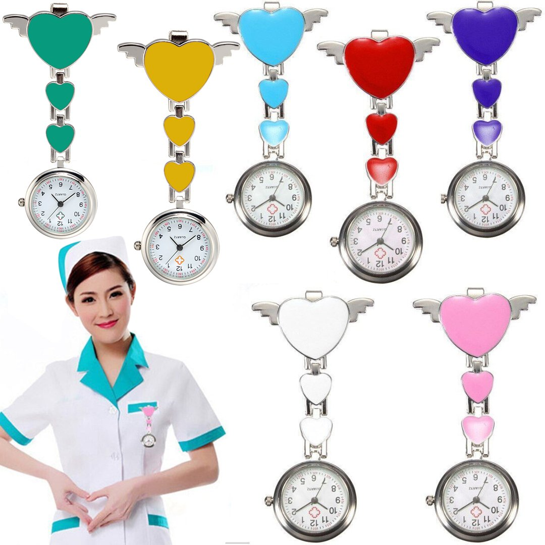 Stainless Steel Wing Heart Nurse Quartz Pocket Clip-on Hanging Brooch Fob Watch