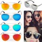 Fashion Retro Cat Eye Aviator Women Sunglasses Mirrored Lenses Metal Frame New