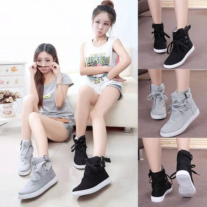 Women's  Buckle Strap Hiking Flats Lace Up High Top Sports Sneakers Shoes