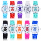 New Women Girl Bear Silicone Strap Analog Quartz Wrist Watch Cute Colourful Gift