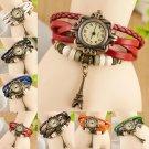 Women Retro Rome Hand Weaves Leather Eiffel Tower Bracelet Quartz WristWatch
