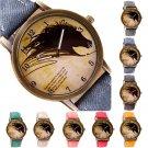 Retro Women Ladies Wolf Dial  Leather Strap Casual Analog Quartz Wrist Watches
