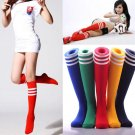New Ladies Long Cotton Stripe Stockings Womens Thigh High Over Knee Soccer Socks