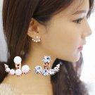 1Pair Women Crystal Rhinestone Bead Ear Stud Jacket Girls Asymmetric Earring