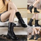 Womens Low Heel Shoes Martin Boots Black Autumn Winter High Military Shoes Boots