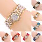 Women Love Heart Shaped Dial Quartz Rhinestone Braided Rope Bracelet Wrist Watch