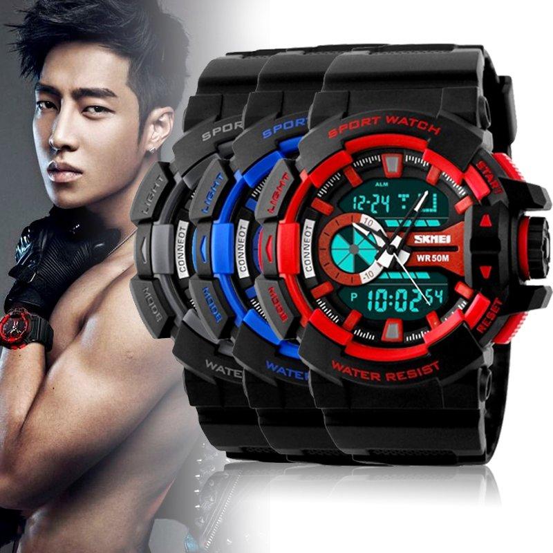New Analog LED Digital Date Alarm Silicone Sport Army Men's Wrist Watch