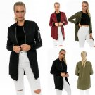 Autumn Women's Slim Down Long Sleeve Zip Up Bomber Biker Jacket Blazer Coat Tops