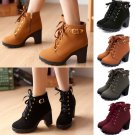 Women's High Heel Lace Up Ankle Boots Zipper Buckle Platform Shoes Autumn Winter