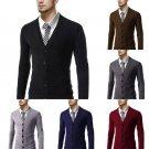 Men's Slim Fit V-neck Knitwear Pullover Cardigan Warm Sweater Jacket Coat Tops